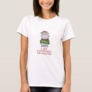 Hippopotamus para el navidad - diseño lindo del playera