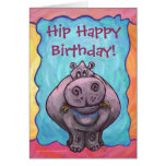 Hippopotamus Party Center Greeting Cards