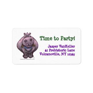 Hippopotamus Party Center Personalized Address Label