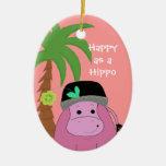 Hippopotamus rosado con una palmera ornaments para arbol de navidad