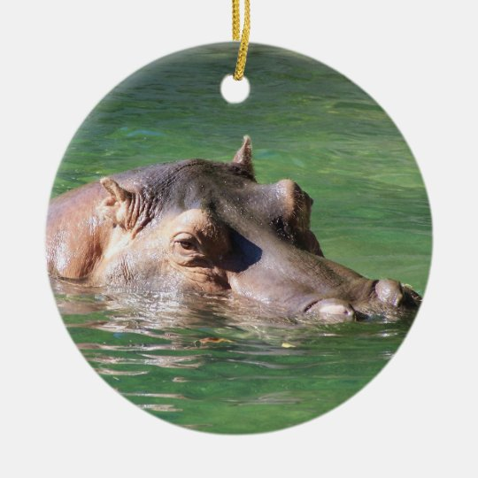 Hippopotamus Swimming On The Surface Ceramic Ornament