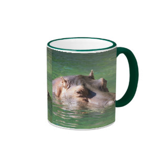 Hippopotamus Swimming On The Surface Ringer Mug