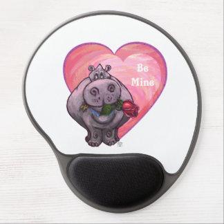 Hippopotamus Valentine's Day Gel Mouse Pad