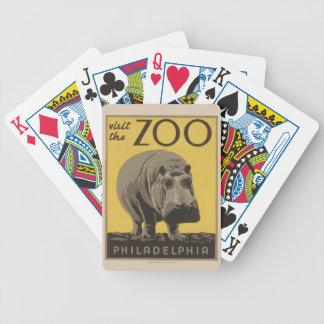 Hippopotamus Vintage WPA Zoo Poster Philadelphia Bicycle Playing Cards