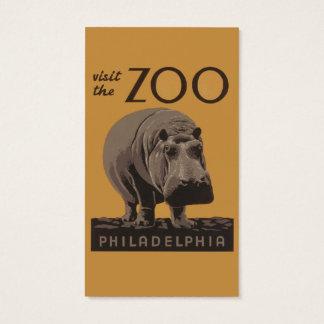 Hippopotamus Vintage WPA Zoo Poster Philadelphia Business Card