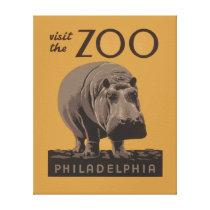 Hippopotamus Vintage WPA Zoo Poster Philadelphia Canvas Print