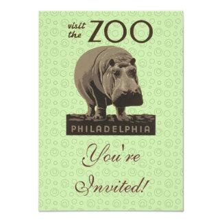 Hippopotamus Vintage WPA Zoo Poster Philadelphia Card