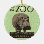 Hippopotamus Vintage WPA Zoo Poster Philadelphia Ceramic Ornament