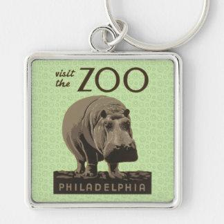 Hippopotamus Vintage WPA Zoo Poster Philadelphia Keychain
