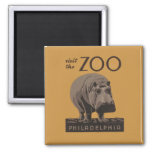 Hippopotamus Vintage WPA Zoo Poster Philadelphia Fridge Magnet