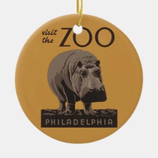 Hippopotamus Vintage WPA Zoo Poster Philadelphia Ornament