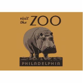 Hippopotamus Vintage WPA Zoo Poster Philadelphia Photo Cut Out