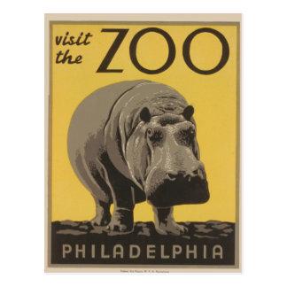 Hippopotamus Vintage WPA Zoo Poster Philadelphia Post Card