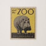 Hippopotamus Vintage WPA Zoo Poster Philadelphia Puzzle