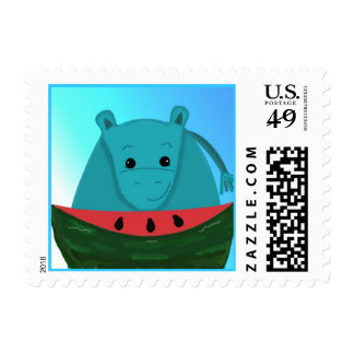 Hippopotamus with a Slice of Watermelon Postage Stamps