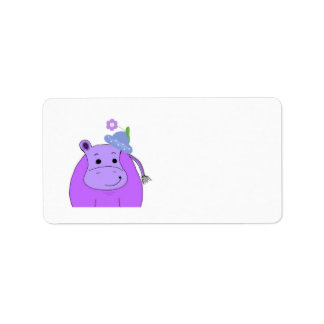 Hippopotamus with Hat and Flower Label