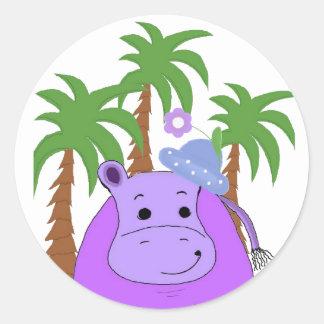 Hippopotamus with Palm Trees Classic Round Sticker