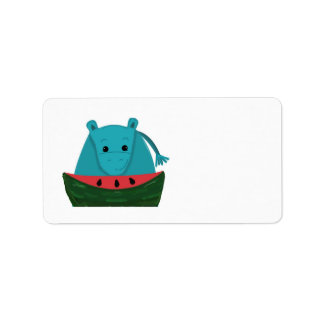 Hippopotamus with Watermelon Slice Label