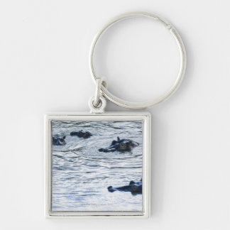 Hippopotamuses wading in a river, Africa Silver-Colored Square Keychain