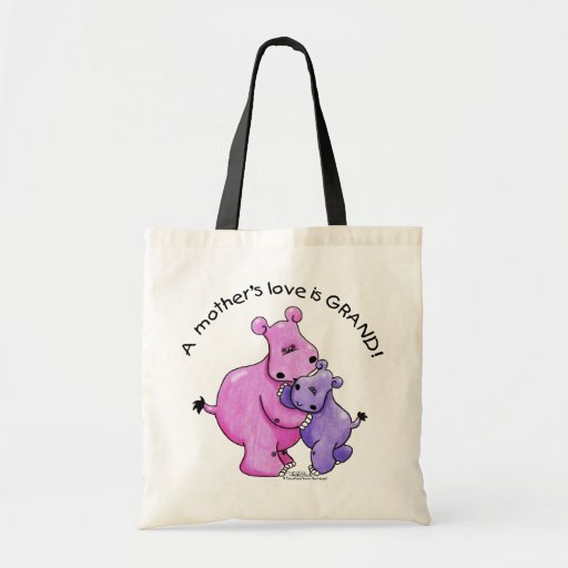 Hippos-A Mother's love is grand! Budget Tote Bag