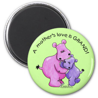 Hippos-A Mother's love is grand! Magnet
