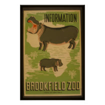 Hippos at Brookfield Zoo Information Vintage WPA Poster