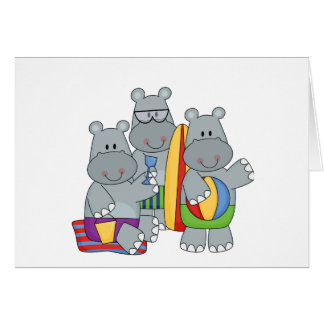 Hippos at the Beach Tshirts and Gifts Cards