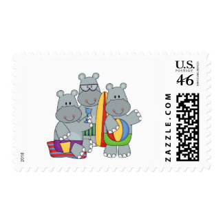 Hippos at the Beach Tshirts and Gifts Stamp