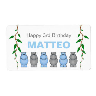 Hippos Birthday Party Favor or Water Bottle Label