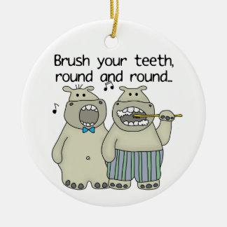 Hippos Brush Your Teeth Ceramic Ornament