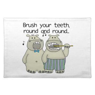 Hippos Brush Your Teeth Cloth Place Mat