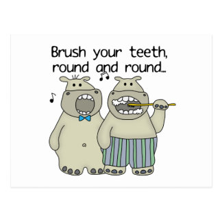 Hippos Brush Your Teeth Postcard