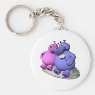 hippos in love basic round button keychain