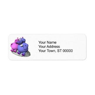 hippos in love custom return address labels