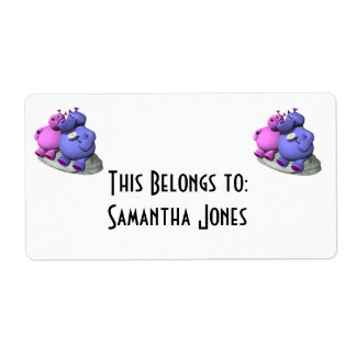 hippos in love label