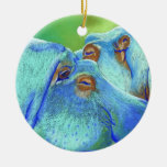 Hippos Double-Sided Ceramic Round Christmas Ornament