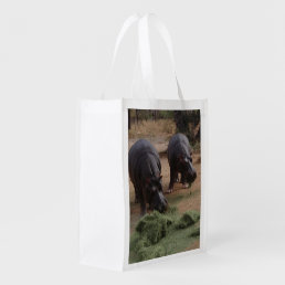 hippos reusable grocery bag