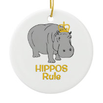 Hippos Rule Golden Crown Ceramic Ornament
