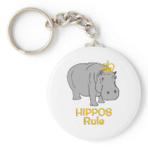 Hippos Rule Golden Crown Keychain