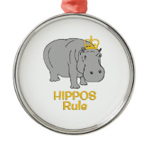 Hippos Rule Golden Crown Metal Ornament