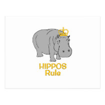 Hippos Rule Golden Crown Postcard