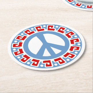 Hippy 60s Peace Symbol with Aztec Style Border Round Paper Coaster