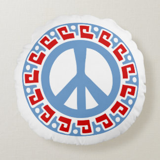 Hippy 60s Peace Symbol with Aztec Style Border Round Pillow
