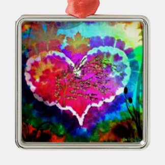 Hippy at Heart Rainbow Tie Dye gift collection Metal Ornament