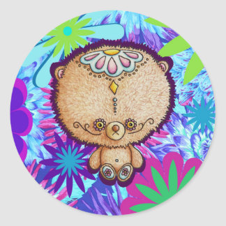 Hippy Bear Classic Round Sticker