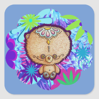 Hippy Bear Square Sticker