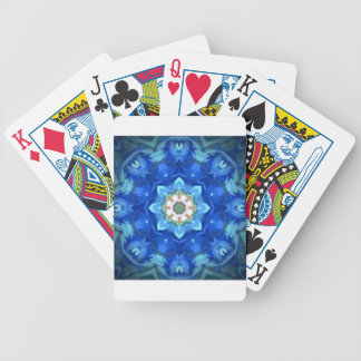 hippy blue flower design bicycle poker cards