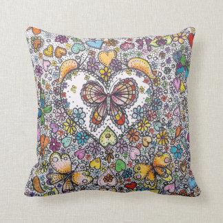 "Hippy Butterfly Throw Pillow 16"" x 16"""