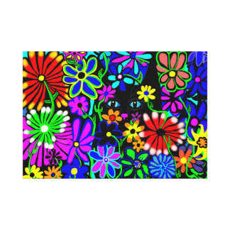 Hippy Cat whimsical flowers on canvas Canvas Print