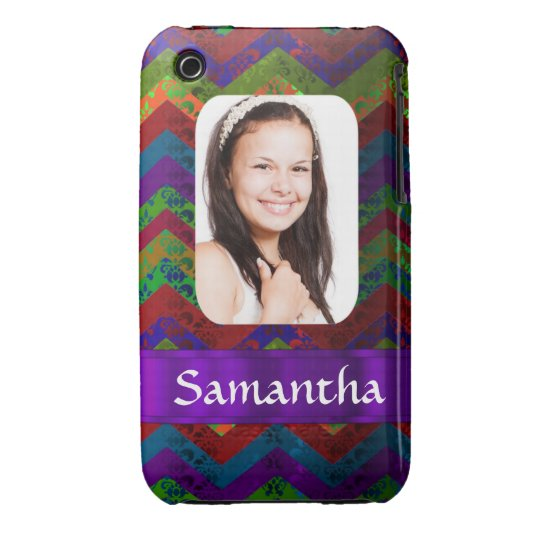 Hippy chevron personalized photo template iPhone 3 case